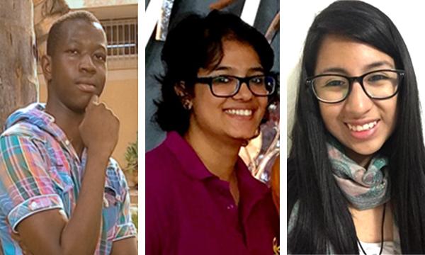 Essay winners Saliou Diop, P. Sangeetha and Jozina Pacheco Gómez.